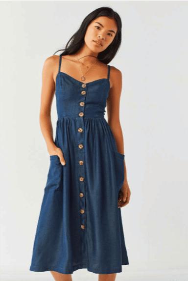 ac936a3e79 Urban Outfitters: UO Emilia Chambray Button-Down Midi Dress ...